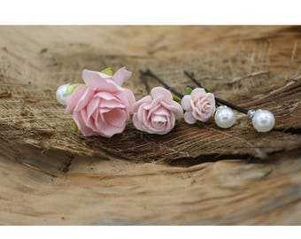 Small Pink  Roses Hairpin, Mulberry Paper Flower Hair Pins , Bridal Hair Pins, Hair Bobby Pins,Prom,Bridal Hair Accessories (FL214)