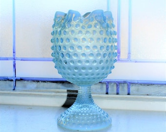 Opalescent Blue Hobnail Glass Ivy Ball Vase Crimped Top