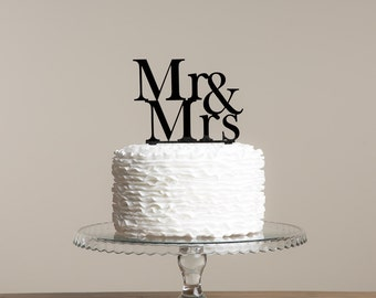 Classic Mr and Mrs Wedding Cake Topper Serif Font with Ampersand
