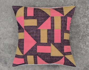 20x20 inch Linen and Cotton Modern Quilted Pillow Cover / Smoky Purple + Coral + Mustard Yellow