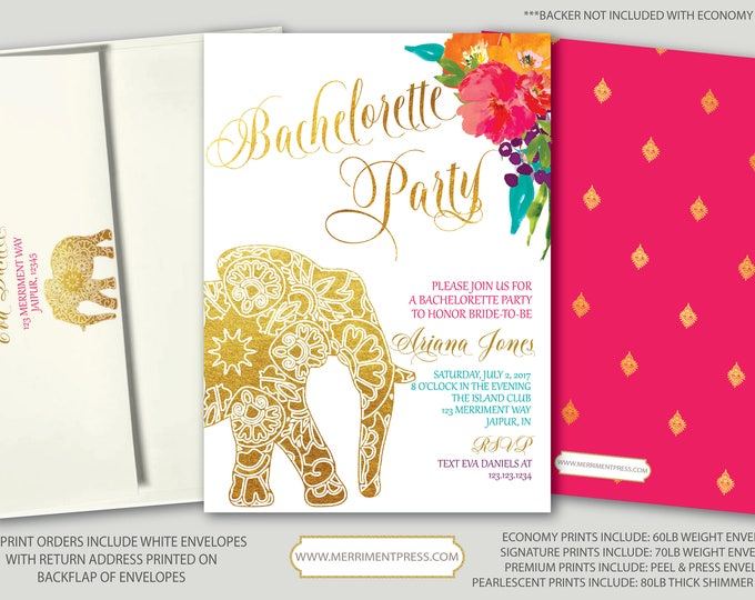 Indian themed Bachelorette Party Invitation / Bollywood / Elephant / Paisley / Gold / Pink / Teal / Orange / Mehndi / JAIPUR COLLECTION