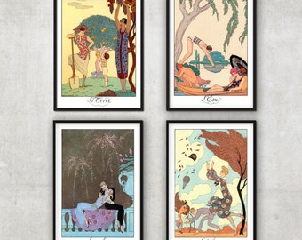 Set of 4 Vintage Art Deco illustrations  - The four elements - by George Barbier - Art Deco print -