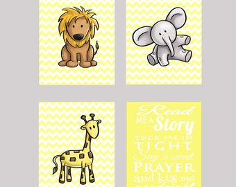 Kiss Me Goodnight Giraffe Lion Elephant Jungle Animals Read Me A Story Tuck Me In Tight Chevron Yellow Nursery Room Decor Wall art 4 prints