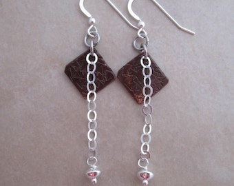 live life with gusto earrings oxidized copper sterling silver
