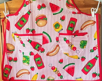 BBQ Full Apron with Red Trim