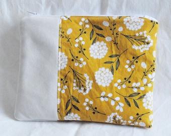 Golden Yellow Spring Flower Makeup Bag | Pouch, Mini Pouch, Faux Suede, Toiletries Bag, Travel Bag
