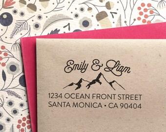 Mountain Address Stamp, Custom Return Address Stamp, Wedding Stamp, Housewarming or Christmas Gift, Self Inking Stamp, Save The Date Stamp