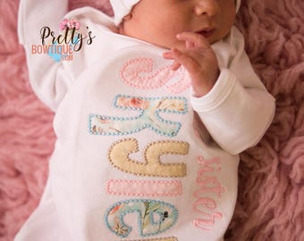 Baby girl coming home outfit --Little Sister gown and hat -- little sister outfit