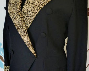 Focus 2000 80's Black and Leopard Cropped Wool Blazer size 6 Petite