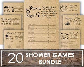 bridal shower games package, bridal shower games printable, Games Bundle Bridal Shower Bundle Rustic Bridal Shower Games Package Fun Bridal