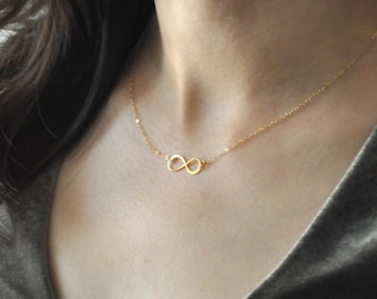 Dainty Gold infinity Necklace, everyday Necklace, infinity jewelry, everlasting lover, enternity, gift for BFF, Forever And Always, silver