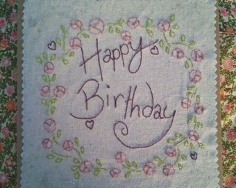 Happy Birthday Card, Flower Birthday Card, Simple Birthday Card, Hand Stitched Card, Blank Inside.