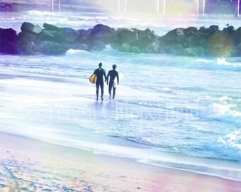 Surfer Photo, Coastal, Ocean Waves, Pacific Ocean, California Beach, Fine Art Photography, Nature, Blue Water, Relax, Sunshine,8x10,11x14