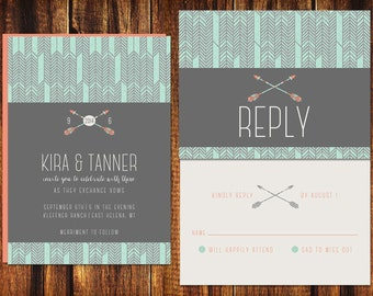 Wedding Invitation and RSVP Card - Printable or Printed - Arrows & Chevron - Tribal