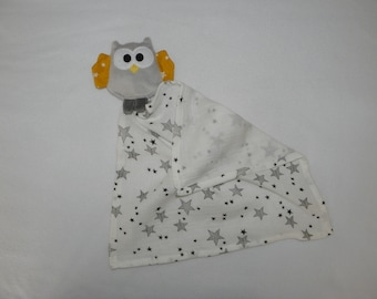 Olly, owl, Swaddle, grey and yellow baby blanket, birth gift