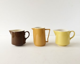 Vintage Mid Century Creamers Instant Collection Autumn Colors Ceramic Cream Pitchers Brown Ochre Yellow Bed and Breakfast
