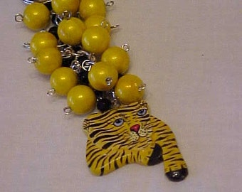 ADORABLE PUSSY CAT Purse Charm/Key Chain~Yellow Wooden Beads~Black Glass Beads~What's New Pussy Cat~ Wooden Cat Charm~WoW Factor!