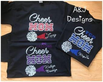 Cheer Mom Shirt, Glitter Cheer Mom Shirt, Customized, Chevron, Personalized Cheer Shirt, UNISEX T-SHIRT, Gildan or Fruit of the Loom