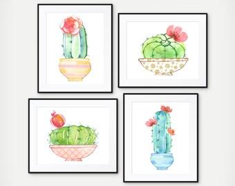 Cactus Home Decor - Watercolor Cactus Print - Cacti Print - Office Decor - Cactus Prints - Kitchen Decor - Cactus Wall Art - Set of 4