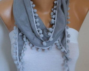 Silver Gray Pashmina Pompom Scarf,Spring Scarf,Mother's day gift  - Cowl Scarf -Birthday Gift, with Lace Edge - fatwoman