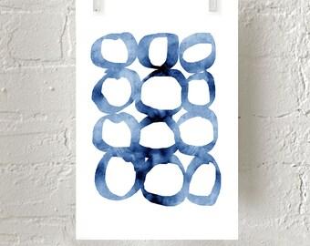 Blue Abstract Watercolor Print Circles Loops Minimalist art Indigo Blue Wall art Navy Minimal Watercolor Large Abstract Art Geometric Print