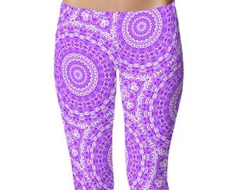 Violet Leggings, Women's Yoga Clothing, Mandala Yoga Pants, Purple and White Printed Leggings