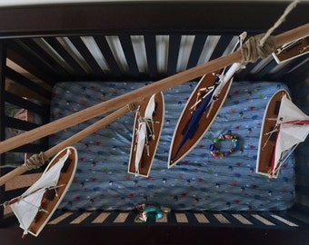 Nursery Mobile w/ Wooden Sailboats
