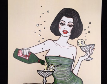Miss Bubbles, vintage style pinup Illustration by Brenda Dunn from Portland, OR