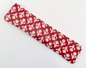 Red Slim Pencil Case - Retro Pencil Case/ Small Oilcloth Pencil Case/ PVC Coated Fabric Pencil Case/ Present for Her