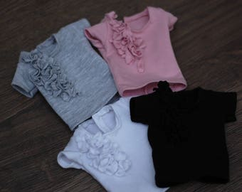 Classic t-shirt blouse with 3d flowers 4 colors for 1/4 scale msd minifee fr16 modsdoll tonner