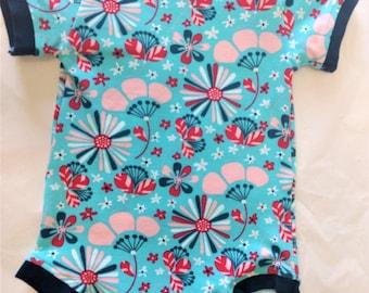 ORGANIC Baby Bodysuit Blue & Pink Flowers - 6 mos - HANDMADE