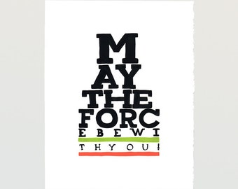 Decor movie Poster May the Force be with You - PRINTABLE FILE - Star Wars quote, letterpress poster, father and son, starwars saga download
