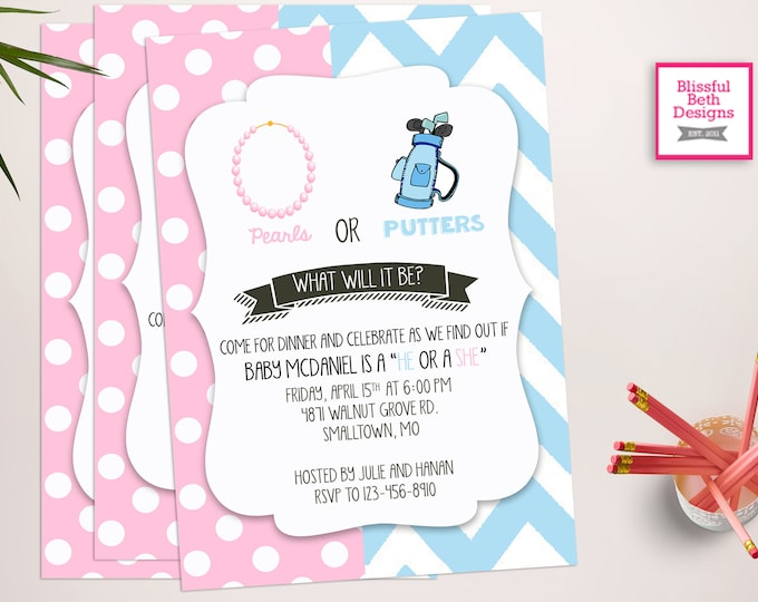 GENDER REVEAL PARTY, Pearls or Putters Gender Reveal Invitation, Pink and Blue Gender Reveal Package, Gender Reveal Party, Boy or Girl