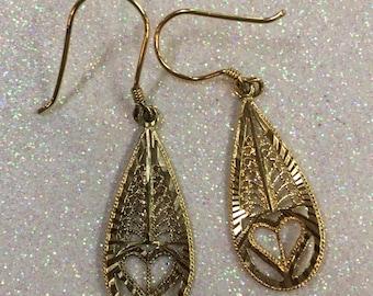 Laser Cut Heart French Hook Dangle Earrings