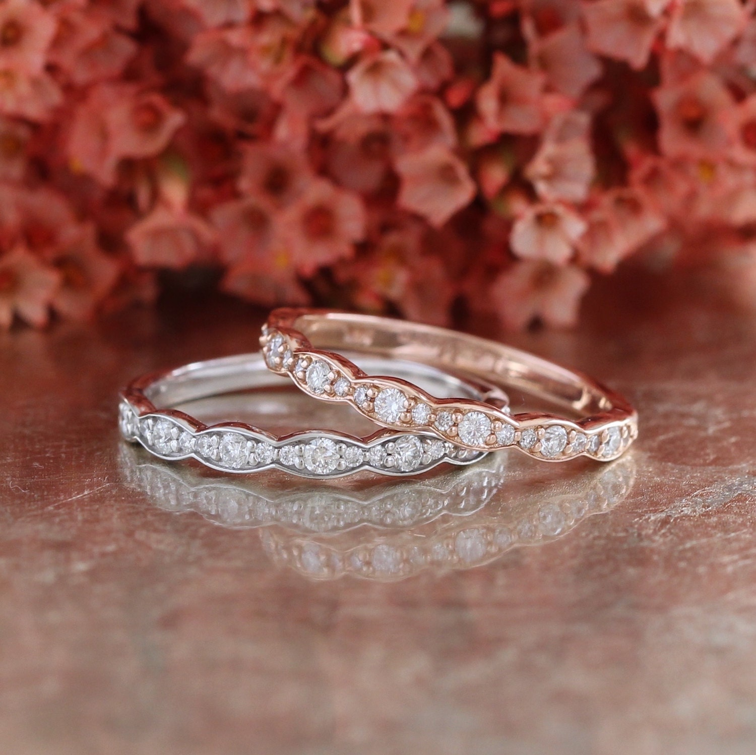by wedding halo design diamond in more ring scalloped oval bands la products rose gold aquamarine set band bridal