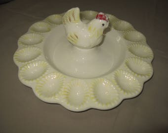 Vintage Handmade Ceramic Chicken Egg Plate 1980