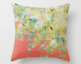 Pastel Peach Living room Boho home Orange Yellow Green Romantic Pillow Cover Flowers Bohemian Couch Nature Dreamy Home Decor