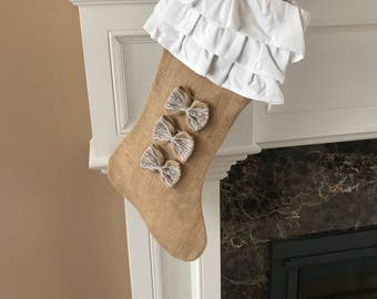 Christmas Stocking | Christmas Burlap Stocking | Christmas Stocking | Ruffle Burlap Stocking | Cotton Stocking | Burlap Stocking | Burlap Ho