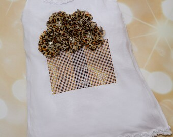 White Sleeveless Girls  Summer Dress Ruffle Girls Dress with Large Chocolate Rhinetone Basket with Leopard Chiffon