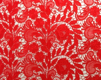 Red Tulip Guipure French Venice lace