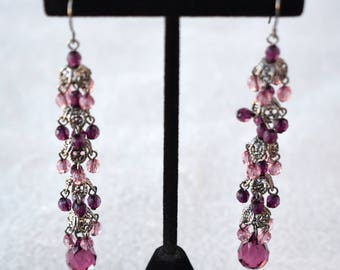 Purple and Pink Faceted Bead Shoulder Duster Earrings Vintage