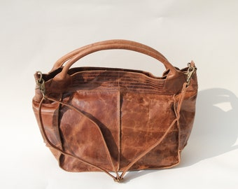 Medium Bach Tote and Cross Body bag in Tan Scrunchy Leather