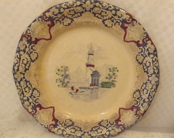 Antique Rhine Ironstone Dinner Plate Blue w Italian Lake Scenery