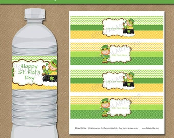 St Patricks Day Water Bottle Labels - St Patricks Day Party Decorations Printable St Pats Water Labels - EDITABLE St Patricks Day Labels