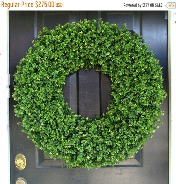 SUMMER WREATH SALE 30 Inch Boxwood Wedding Wreath, Living Room Decor, Wall Decor, Artificial Boxwood Wreath, Year Round Wreath, Weddin