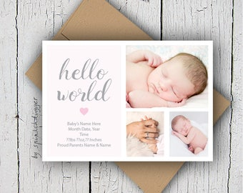 Baby Announcement, New Baby, Birth Announcement, New Baby Card, New Baby Boy Card, New Baby Girl Card, New Arrival, New Baby Print at Home