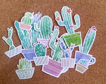 LIMITED Lovely Watercolor Cactus Cacti Stickers for Journal / Scrapbook / crafting