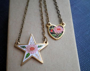 Vintage Enamel Floral Heart or Star Charm Necklace - Retro Chic Tiny Flower Pendant - Petite Star / Heart Cloisonne Art Jewelry Gift For Her