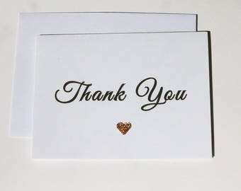 20 Thank you cards, wedding thank you cards, rose gold thank you cards, rose gold glitter thank you cards, thank you notes, wedding cards