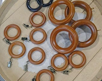 14 vintage wood curtain rings - craft supplies - NO107